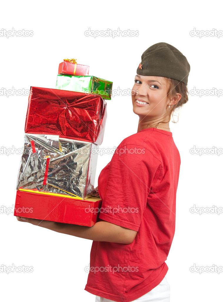 Picture of happy USSR girl with gifts isolated over white  — Stock Photo #1098928
