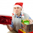 Adult men with christmas gifts over whit — Stock Photo #1114991