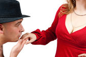 Adult men kissing women — Stock Photo