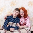 Mom and son at home — Stock Photo