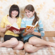 Two reading friends — Stock Photo