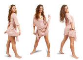 Three luxury girls dancing — Stock Photo