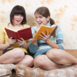 Two reading girls on sofa - Stock Photo