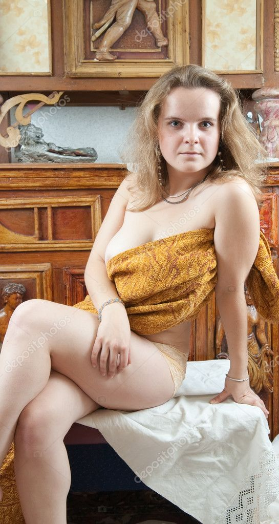 Naked beauty blond women over vintage interior — Stock Photo #1160804