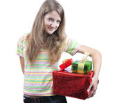 Beauty girl with christmas gifts over wh — Stock Photo