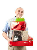 Adult men with christmas gifts over whit — Stock Photo