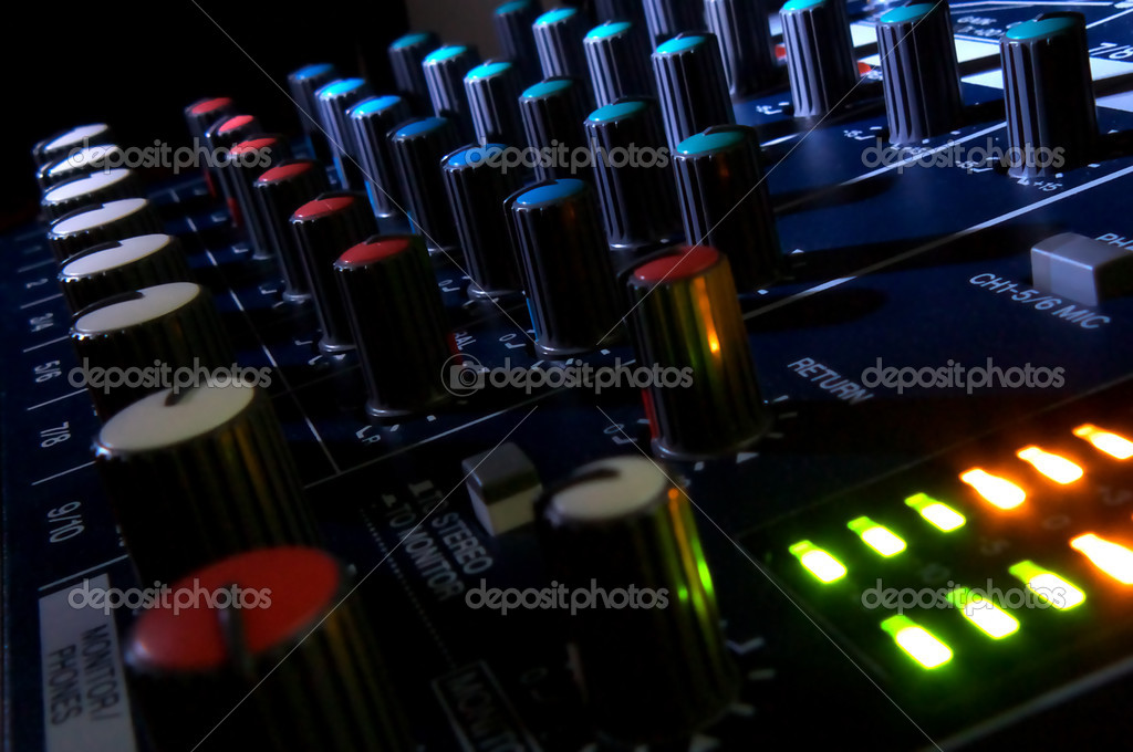 Mixing console in dark. Element of design.  Stock Photo #1126108