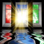 Trzy okna ze słońcem — Zdjęcie stockowe
