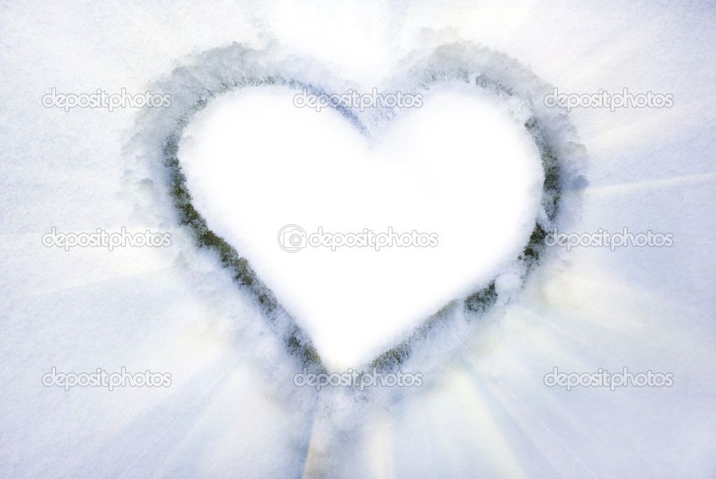 Heart on the snow. Element of design. — Stock Photo #1628221