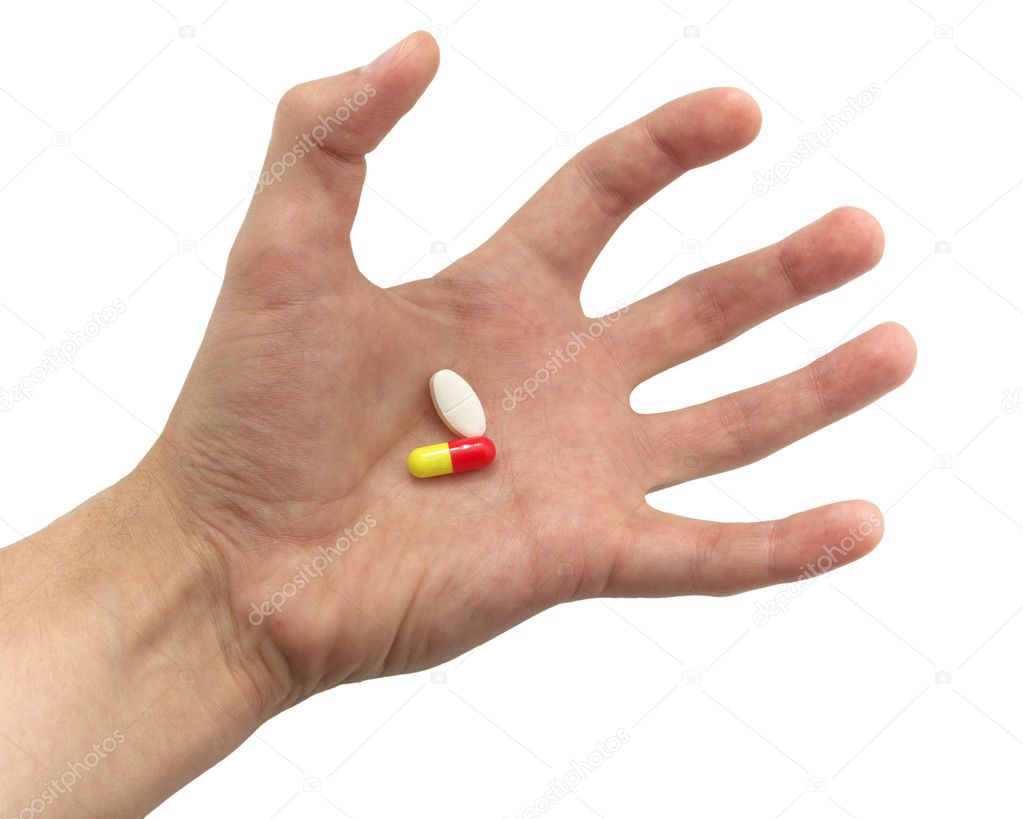 Tense hand with pills. Element of medical design. — Stock Photo #1961211