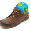 World in shoe — Stock Photo