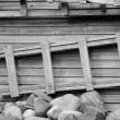 Stock Photo: Ladder, stones and wooden wall