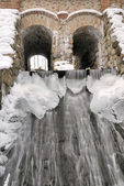 Ancient water-mill in winter — Stock Photo