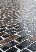 Closeup sidewalk in church courtyard — Stock Photo