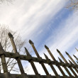 Stock Photo: Metal fence against spring sky