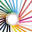 Royalty-Free Stock Photo: Assortment pencils circle wheel like sun