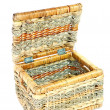 Empty brown wicker basket isolated on wh — Stock Photo