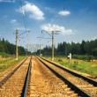 Steel Railroad Tracks - Stock Photo
