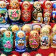 Shop window with set of russian dolls of — Stock Photo