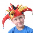 Boy with red hat of Christmas — Stock Photo