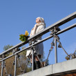Woman sunshines enjoys sunlight on bridg — Stock Photo