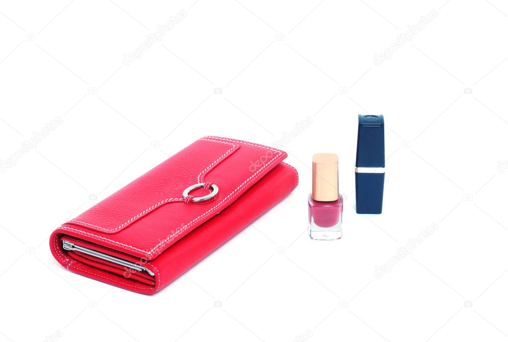 Hand with empty purse feminine red on bacground white  Stock Photo #1101749