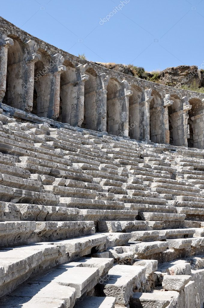 Roman Amphitheatre of turkey stairs with chairs — Stock Photo #1102808