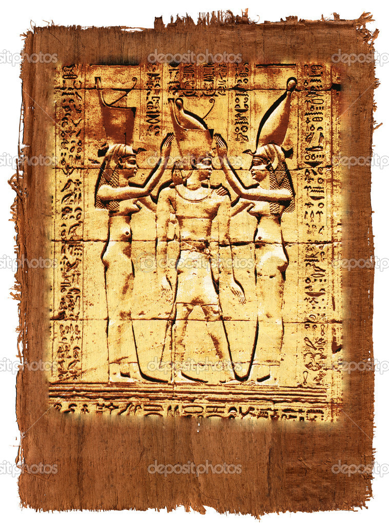 Papyrus with elements of egyptian ancient history — Stock Photo #1108548