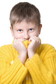 Boy in yellow sweater — Stock Photo