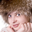 Beautiful pretty womanin fur hat — Stock Photo
