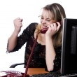 Stock Photo: Womworking and answering calls