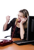 Woman working and answering calls — Stock Photo