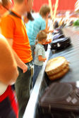 Airport arrival baggage blurred — Stock Photo
