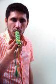 Drug addict with tube marijuana at the w — Stock Photo
