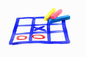 Tic tac toe and piece of chalk — Stock Photo