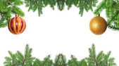 Christmas frame made from pine branch — Stock Photo