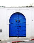 Blue door on the Greek island — Stock Photo