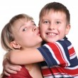 Young son embracing her mother — Stock Photo