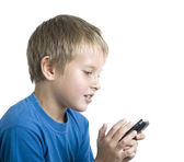 Boy Playing on Cell — Stock Photo