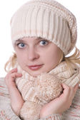 Caucasian girl in winter clothing — Stock Photo