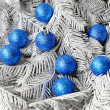 Branches silvery tree with blue balls — Stock Photo #1314336