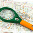 Map of roads and Magnifier — Stock Photo #1939253