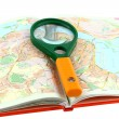 Map of roads and Magnifier — Stock Photo