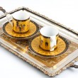 Silver tray with coffee cups — Stock Photo