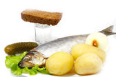 Atlantic herring with boiled potatoes — Stock Photo