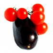 Aubergine and tomato — Stock fotografie