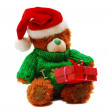 Santa teddy bear — Stock Photo
