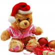 Teddy bear with santa hat — Stock Photo #1257683