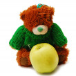 Bear and apple — Stock Photo