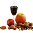 Apple and red wine — Stock Photo